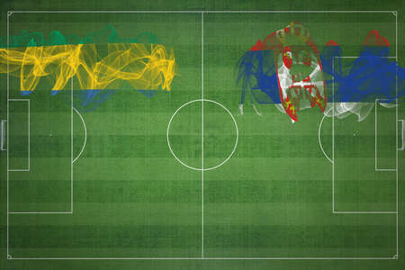 Gabon vs Serbia Soccer Match, national colors, national flags, soccer field, football game, Competition concept, Copy space