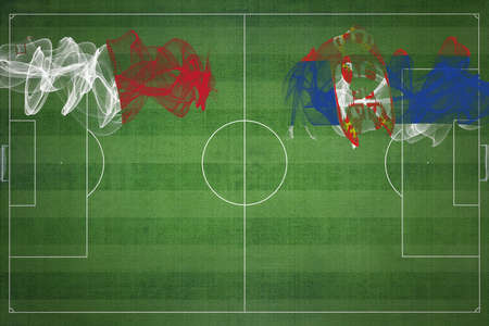 Malta vs Serbia Soccer Match, national colors, national flags, soccer field, football game, Competition concept, Copy space 版權商用圖片