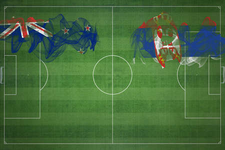New Zealand vs Serbia Soccer Match, national colors, national flags, soccer field, football game, Competition concept, Copy space