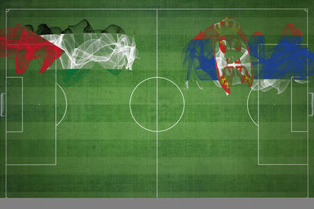 Palestine vs Serbia Soccer Match, national colors, national flags, soccer field, football game, Competition concept, Copy space