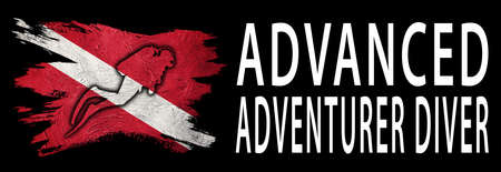 Advanced Adventurer Diver, Diver Down Flag, Scuba flag, Scuba Diving Фото со стока