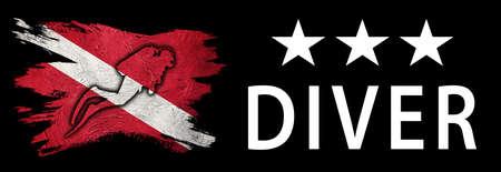 Three Star Diver, Diver Down Flag, Scuba flag, Scuba Diving Фото со стока