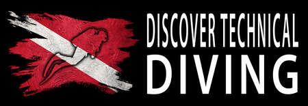 Discover Technical Diving, Diver Down Flag, Scuba flag, Scuba Diving