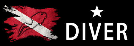 One Star Diver, Diver Down Flag, Scuba flag, Scuba Diving Фото со стока