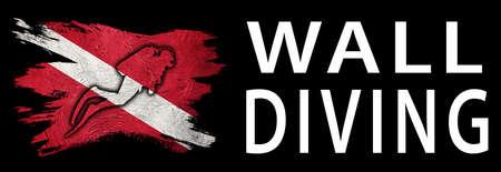 Wall Diving, Diver Down Flag, Scuba flag, Scuba Diving Фото со стока