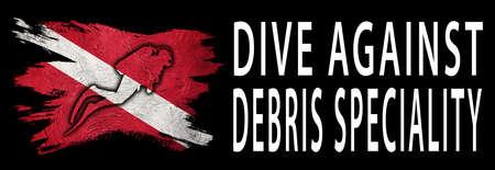 Dive Against Debris Speciality, Diver Down Flag, Scuba flag, Scuba Diving Фото со стока