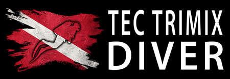 Tec Trimix Diver, Diver Down Flag, Scuba flag, Scuba Diving Фото со стока