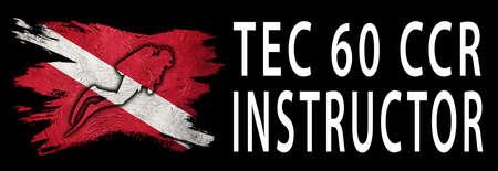Tec 60 CCR Instructor, Diver Down Flag, Scuba flag, Scuba Diving Фото со стока