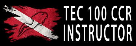 Tec 100 CCR Instructor, Diver Down Flag, Scuba flag, Scuba Diving Фото со стока