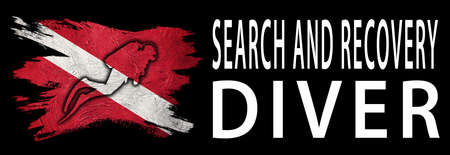 Search and Recovery Diver, Diver Down Flag, Scuba flag, Scuba Diving Фото со стока