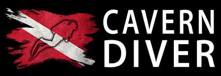 Cavern Diver, Diver Down Flag, Scuba flag, Scuba Diving Фото со стока