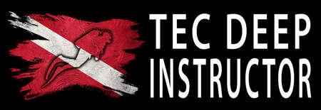 TEC Deep Instructor, Diver Down Flag, Scuba flag, Scuba Diving Фото со стока