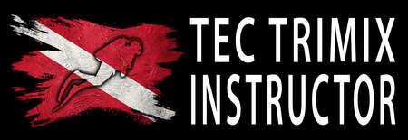 TEC Trimix Instructor, Diver Down Flag, Scuba flag, Scuba Diving Фото со стока
