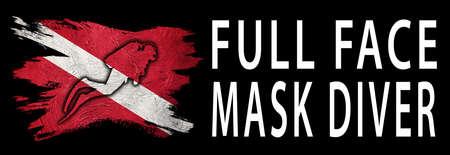 Full Face Mask Diver, Diver Down Flag, Scuba flag, Scuba Diving