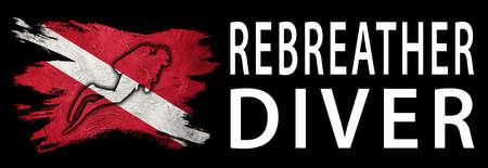 Rebreather Diver, Diver Down Flag, Scuba flag, Scuba Diving Фото со стока