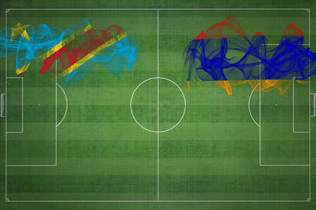 Democratic Republic of Congo vs Armenia Soccer Match, national colors, national flags, soccer field, football game, Competition concept, Copy space