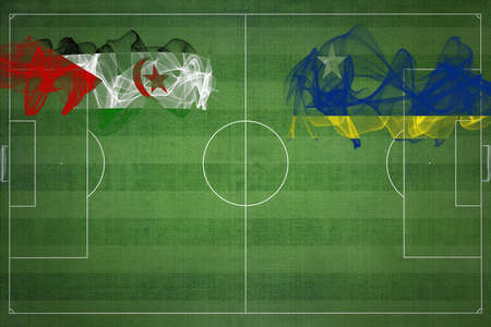 Sahrawi Arab Democratic Republic vs Curacao Soccer Match, national colors, national flags, soccer field, football game, Competition concept, Copy space