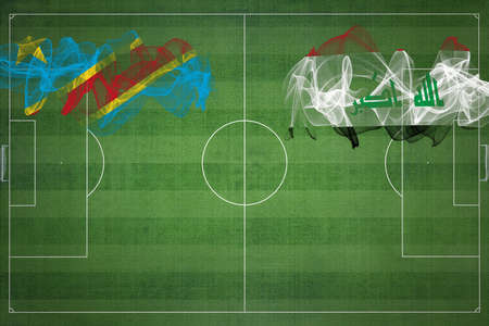 Democratic Republic of Congo vs Iraq Soccer Match, national colors, national flags, soccer field, football game, Competition concept, Copy space