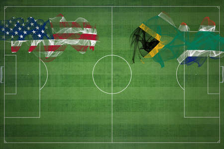 United States vs South Africa Soccer Match, national colors, national flags, soccer field, football game, Competition concept, Copy space