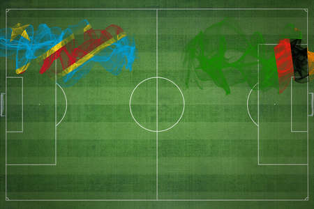 Democratic Republic of Congo vs Zambia Soccer Match, national colors, national flags, soccer field, football game, Competition concept, Copy space