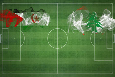 Sahrawi Arab Democratic Republic vs Lebanon Soccer Match, national colors, national flags, soccer field, football game, Competition concept, Copy space Stock fotó