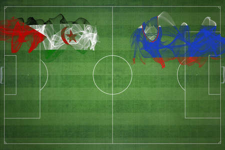Sahrawi Arab Democratic Republic vs Slovenia Soccer Match, national colors, national flags, soccer field, football game, Competition concept, Copy space