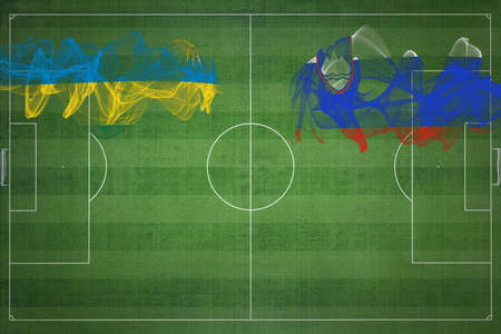 Rwanda vs Slovenia Soccer Match, national colors, national flags, soccer field, football game, Competition concept, Copy space
