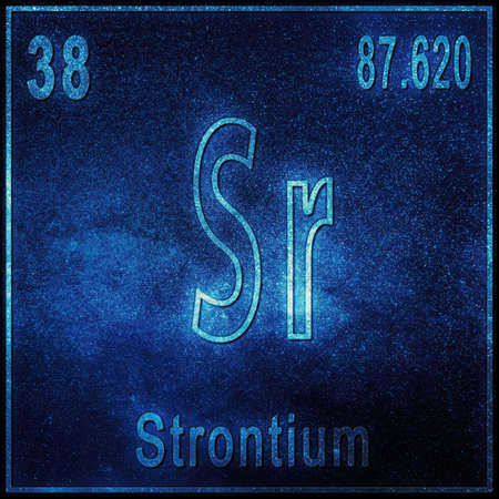 Strontium chemical element, Sign with atomic number and atomic weight, Periodic Table Element Stock fotó