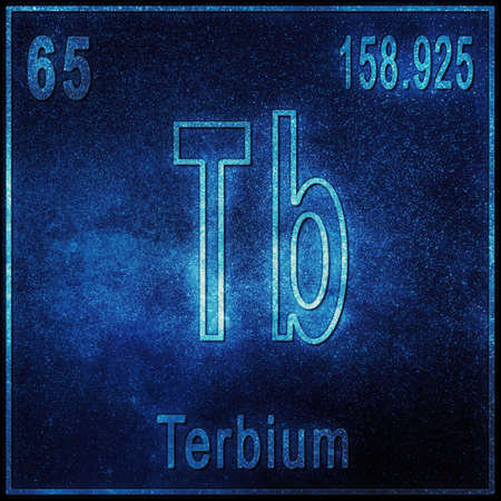 Terbium chemical element, Sign with atomic number and atomic weight, Periodic Table Element
