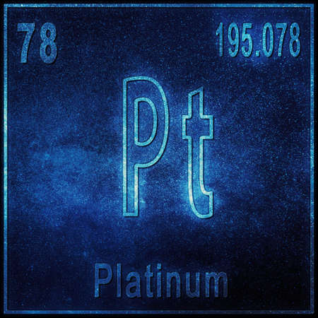 Platinum chemical element, Sign with atomic number and atomic weight, Periodic Table Element
