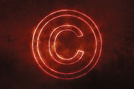 Copyright Symbol, C letter in circle, Blue symbol
