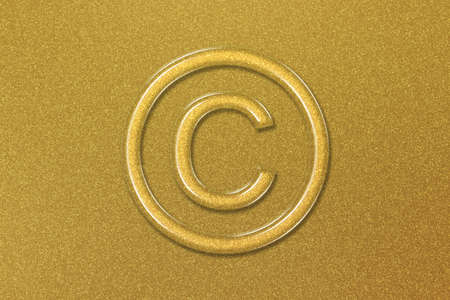 Copyright Symbol, C letter in circle, gold background