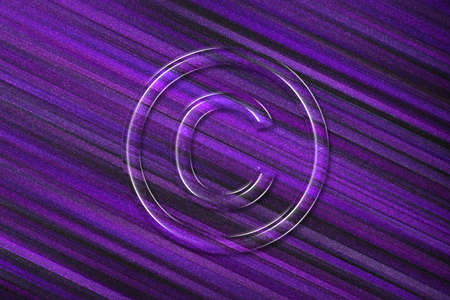 Copyright Symbol, C letter in circle, violet background