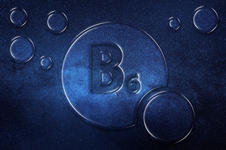 Vitamin B6 health Symbol, vitamin Concept, Pyridoxine, Pyridoxamine, Pyridoxal, helps to Make antibodies, hemoglobin, Break proteins, Keep glucose in normal ranges, space background