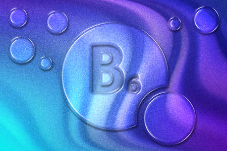 Vitamin B6 health Symbol, vitamin Concept, Pyridoxine, Pyridoxamine, Pyridoxal, helps to Make antibodies, hemoglobin, Break proteins, Keep glucose in normal ranges, violet violet blue background