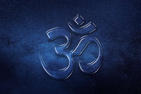 Om, Aum symbol, Ultimate reality, space background