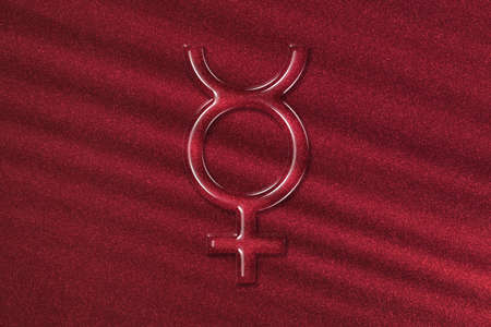 Symbol of Pluto, Pluto Sign, astrology Pluto planet, red background Banque d'images