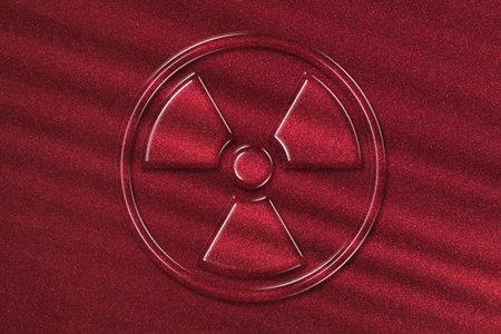 Radiation sign, Radiation symbol, hazard warning sign, red background