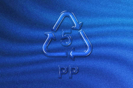 PP, Plastic recycling symbol PP 5, blue glitter background