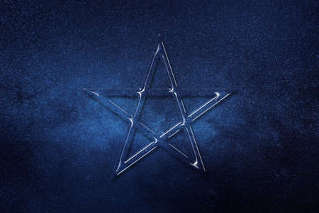 Pentagram symbol, five pointed star, Satanism, space background