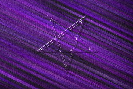 Reversed Pentagram symbol, Satanic sign, violet background