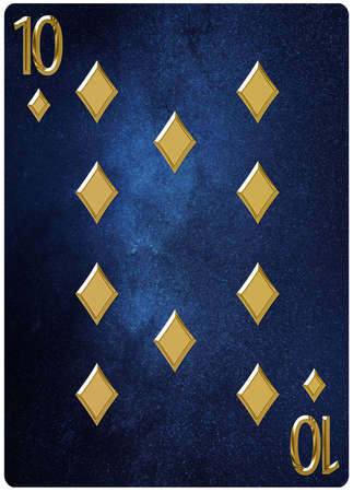 Ten of diamonds playing card, space background, gold silver symbols