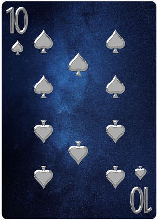 Ten of Spades playing card, space background, gold silver symbols
