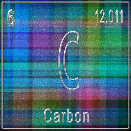 Carbon chemical element, Sign with atomic number and atomic weight, Periodic Table Element Banque d'images