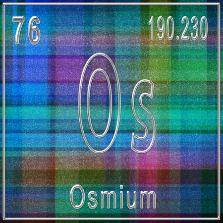 Osmium chemical element, Sign with atomic number and atomic weight, Periodic Table Element