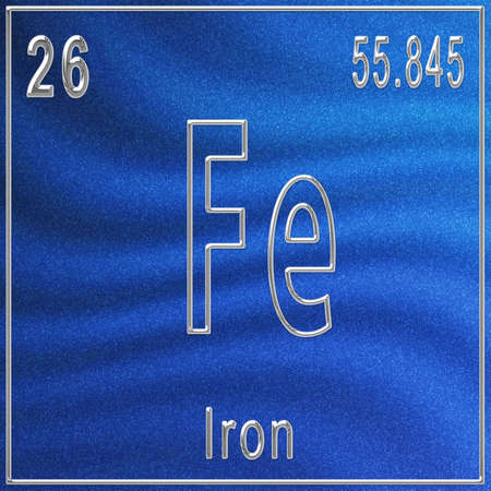 Iron chemical element, Sign with atomic number and atomic weight, Periodic Table Element Imagens