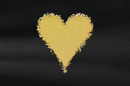 Heart card symbol, playing cards symbol, abstract gold with black background