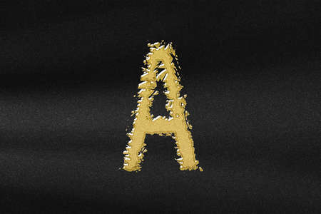 Alpha sign. alpha letter, Greek Alphabet Symbol, abstract gold with black background Stok Fotoğraf
