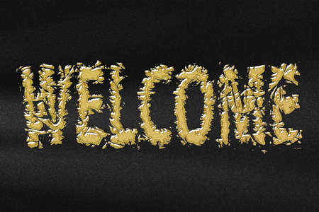 Welcome poster, WELCOME letters banner, Greeting card, abstract gold with black background