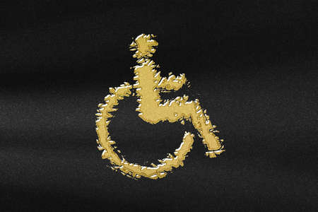 Wheelchair sign, Disabled symbol, Disabled Handicap, abstract gold with black background